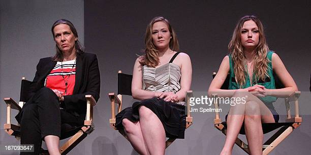 Actors Amy Morton Louisa Krause and Emily Meade attend Meet the Filmmaker 'Bluebird' during the 2013 Tribeca Film Festival at the Apple Store Soho on...