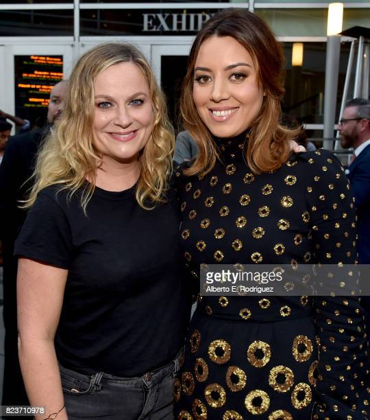 Actors Amy Poehler and Aubrey Plaza at the premiere of Neon's 'Ingrid Goes West' at ArcLight Hollywood on July 27 2017 in Hollywood California