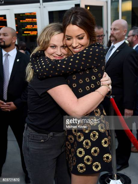 Actors Amy Poehler and Aubrey Plaza attend the Los Angeles Premiere of 'Ingrid Goes West' presented by SVEDKA Vodka and Avenue Los Angeles at...
