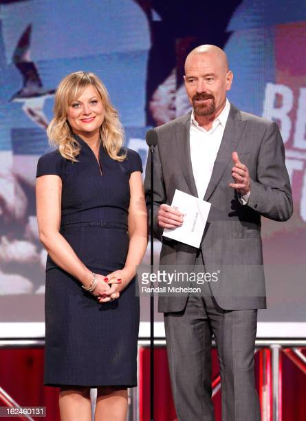 Actors Amy Poehler and Bryan Cranston speak onstage during the 2013 Film Independent Spirit Awards at Santa Monica Beach on February 23 2013 in Santa...
