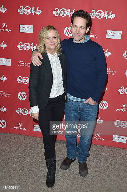 Actors Amy Poehler and Paul Rudd attend the 'They Came Together' premiere at Eccles Center Theatre during the 2014 Sundance Film Festival on January...