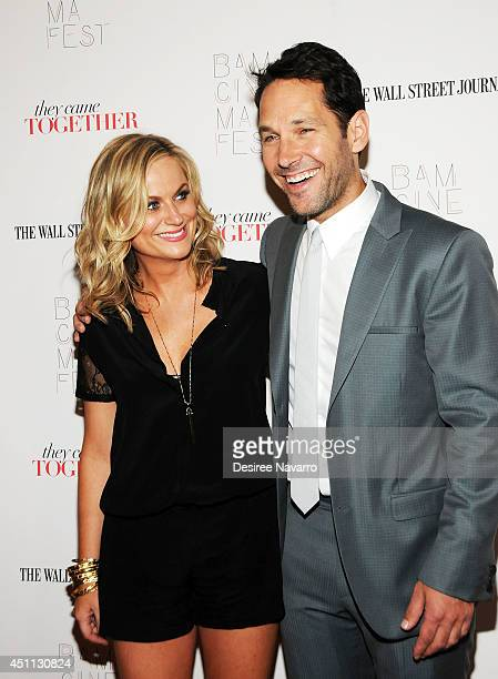 """Actors Amy Poehler and Paul Rudd attend the """"They Came Together"""" screening during the BAMcinemaFest 2014 at BAM Harvey Theater on June 23, 2014 in..."""