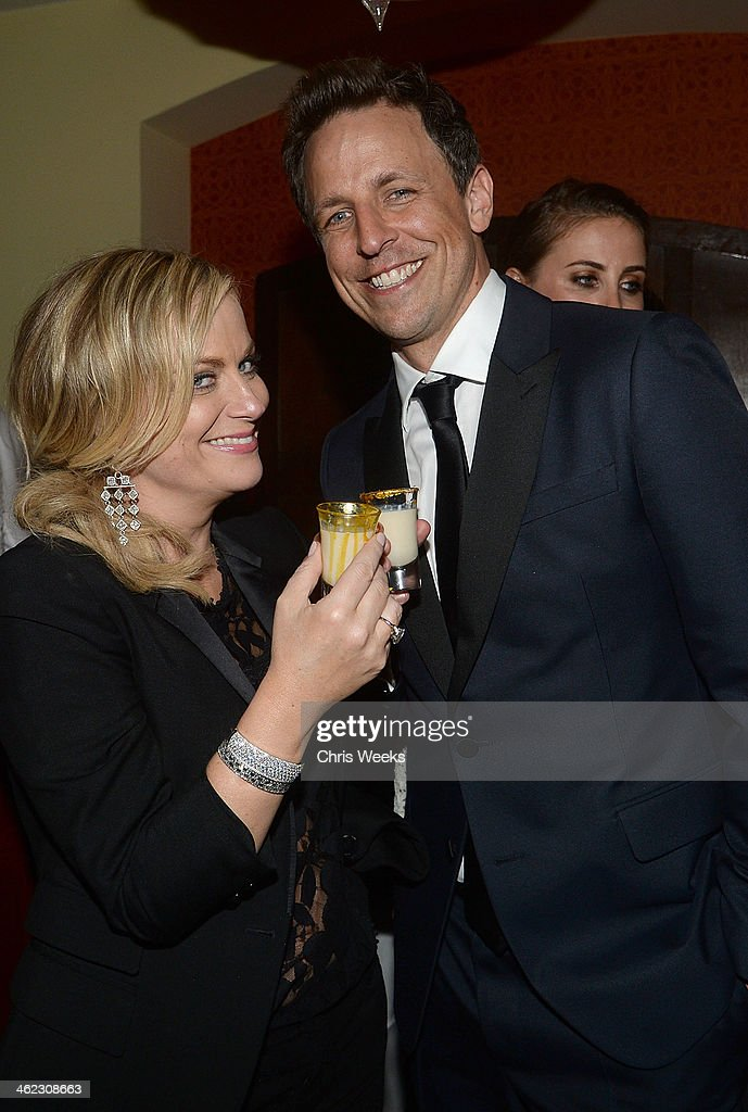 Amy Poehler Toasting With A Baileys Glamour Shot At Her Private Golden Globes After Party