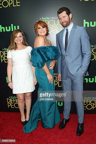 Actors Amy Poehler Julie Klausner and Billy Eichner attends the Hulu Original 'Difficult People' premiere at The Metrograph on July 11 2016 in New...