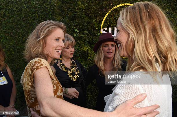 Actors Amy Redford Sundance Institute board chair Pat Mitchell CEO and founder of The Communication Group Clare Munn and actress Maria Bello attend...