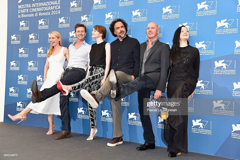 Actors Amy Ryan, Edward Norton, Emma Stone, director Alejandro Gonzalez Inarritu, actors Michael Keaton and Andrea Riseborough attend the 'Birdman' photocall during the 71st Venice Film Festival on August 27, 2014 in Venice, Italy.
