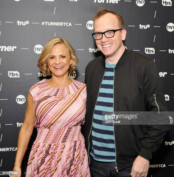 Actors Amy Sedaris and Chris Gethard at the TCA Turner Summer Press Tour 2017 Green Room at The Beverly Hilton Hotel on July 27 2017 in Beverly Hills...