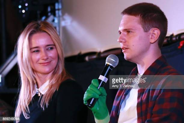 Actors Amy Shiels and Jake Wardle answer questions on stage during the Twin Peaks UK Festival 2017 at Hornsey Town Hall Arts Centre on October 8 2017...