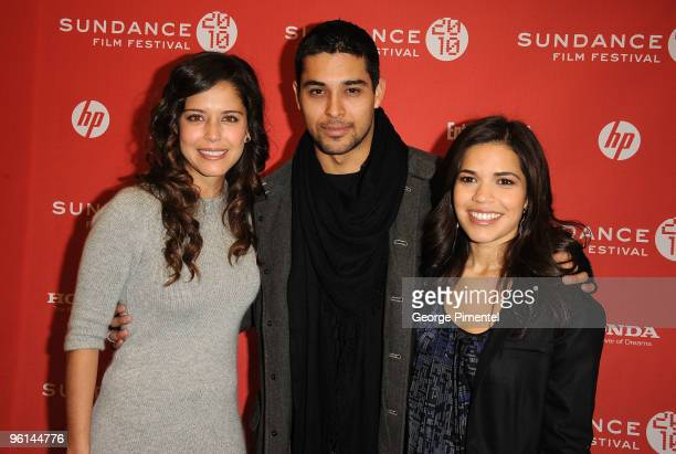 Actors Ana Claudia Talancón Wilmer Valderrama and America Ferrera attend The Dry Land premiere during the 2010 Sundance Film Festival at Eccles...