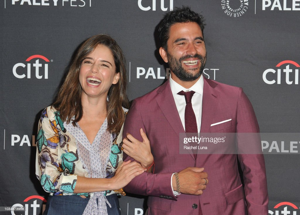 Actors Ana Claudia Talancon and Ignacio Serricchio share a laugh as they attend Telemundo Presents 'El Recluso' for the 12th annual PaleyFest Fall TV Previews at The Paley Center for Media on September 16, 2018 in Beverly Hills, California.