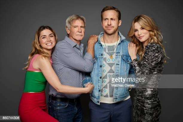Actors Ana De Armas Harrison Ford Ryan Gosling and Sylvia Hoeks from Blade Runner 2049 are photographed for Entertainment Weekly Magazine on July 22...