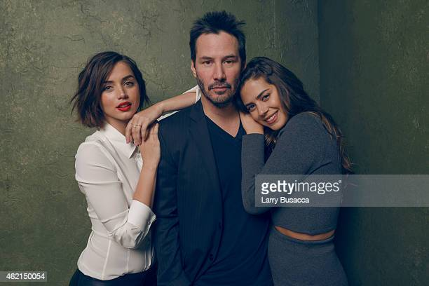 Actors Ana de Armas Keanu Reeves and Lorenza Izzo from Knock Knock pose for a portrait at the Village at the Lift Presented by McDonald's McCafe...