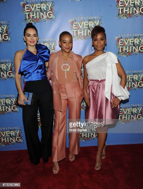 Actors Ana de la Reguera Amandla Stenberg and Anika Noni Rose attend the Everything Everything New York Screening at The Metrograph on April 30 2017...