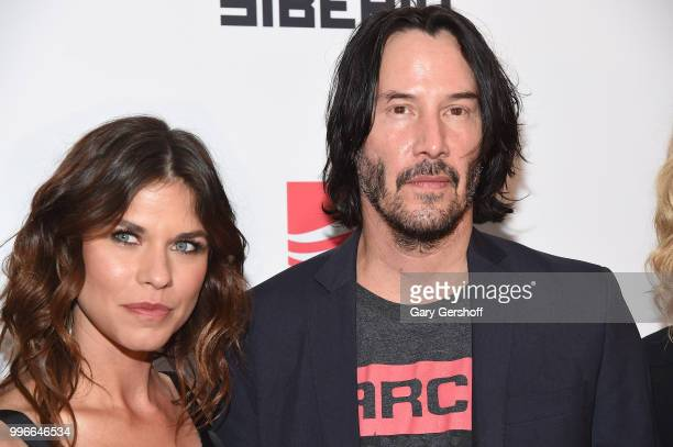 Actors Ana Ularu and Keanu Reeves attend the 'Siberia' New York premiere at The Metrograph on July 11 2018 in New York City