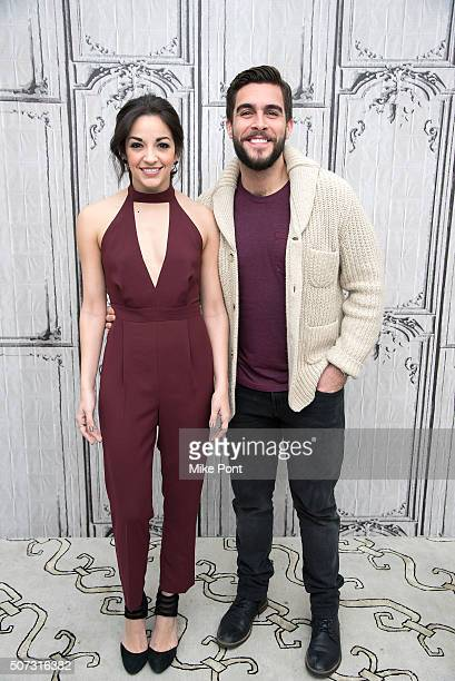 Actors Ana Villafane and Josh Segarra attend the AOL Build series to discuss the Broadway play 'On Your Feet' at AOL Studios In New York on January...