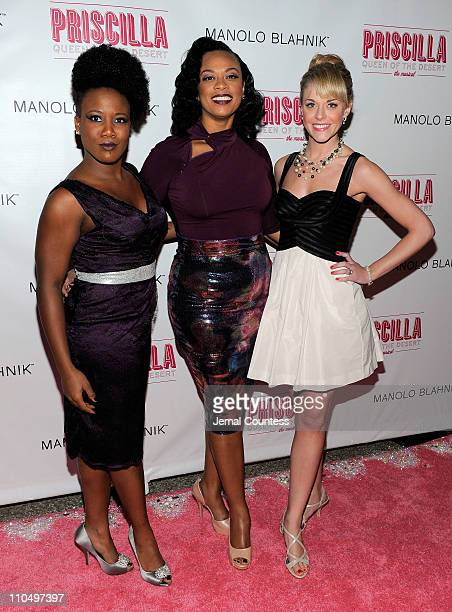 Actors Anastacia McCleskey Jacqueline B Arnold and Ashley Spencer attend the after party for the Broadway opening night of Priscilla Queen of the...