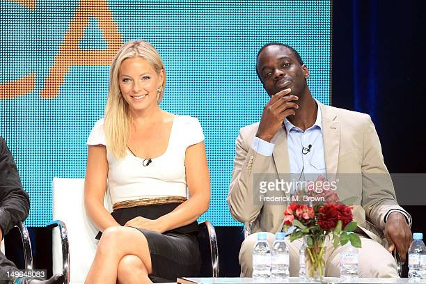 Actors Anastasia Griffith and Ato Essandoh speak at the 'Copper' discussion panel during the BBC America portion of the 2012 Summer Television...