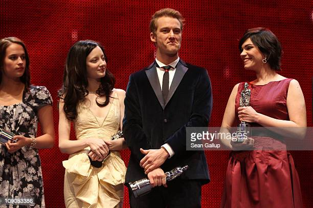 Actors and 2011 Shooting Stars Alicia Vikander Andrea Riseborough Alexander Fehling and Marija Skaricic on stage during the 2011 Shooting Star awards...