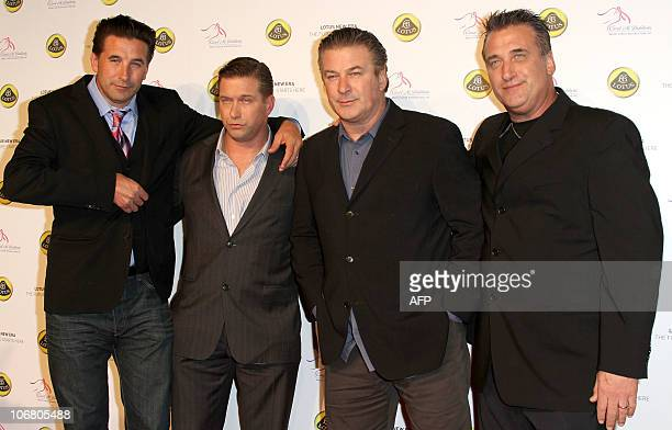 Actors and brothers Billy Stephen Alec and Daniel Baldwin arrive for the Lotus Cars Launch event on November 12 2010 in Los Angeles California AFP...