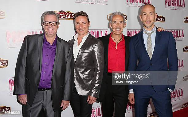 Actors and cast members Joe Hart Bryan West Scott Willis and Wade McCollum attend the Los Angeles theatre premiere of Priscilla Queen of the Desert...