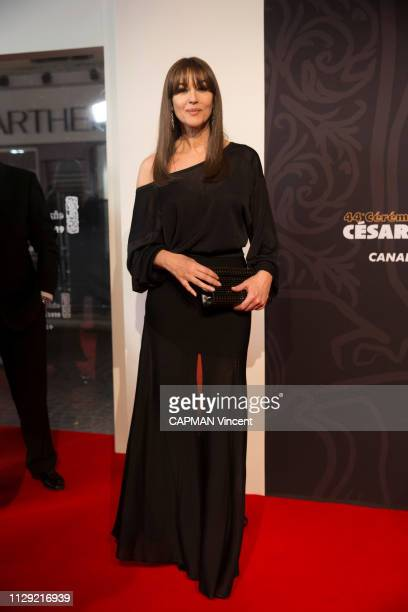 Actors and celebrities at 44th Cesar Awards ceremony at the Salle Pleyel in Paris on February 22 2019 the actress Monica Bellucci in a Azzedine Alaia...