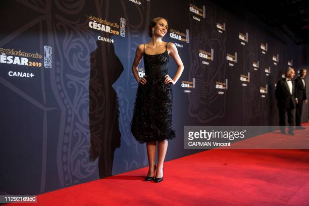 Actors and celebrities at 44th Cesar Awards ceremony at the Salle Pleyel in Paris on February 22 2019 LillyRose Depp in a Chanel haute couture dress...