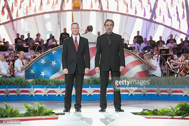 Actors and cohosts Gary Sinise and Joe Mantegna speak on stage during the rehearsal of the 26th Anniversary Broadcast of the National Memorial Day...
