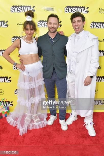 Actors and cowriters Alexi Pappas and Nick Kroll and director and cowriter Jeremy Teicher attend the 'Olympic Dreams' premiere during the 2019 SXSW...