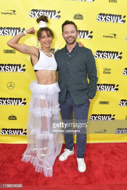 Actors and cowriters Alexi Pappas and Nick Kroll attend the 'Olympic Dreams' premiere during the 2019 SXSW Conference and Festivals at ZACH Theatre...