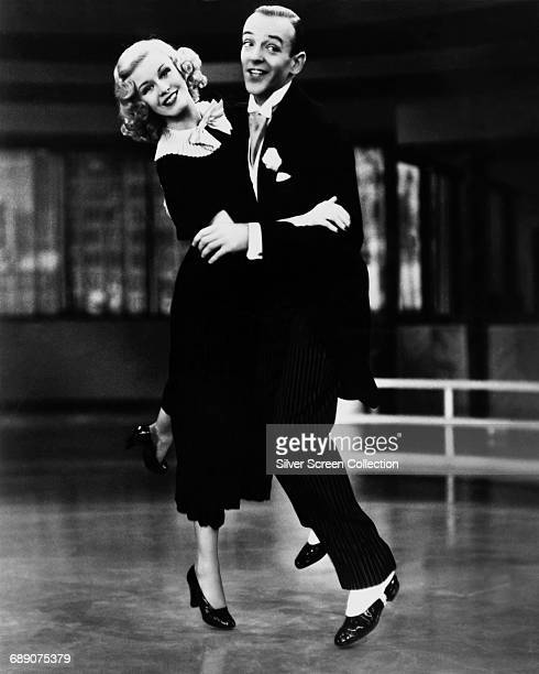 Actors and dancers Fred Astaire and Ginger Rogers in a scene from the film 'Swing Time' 1936
