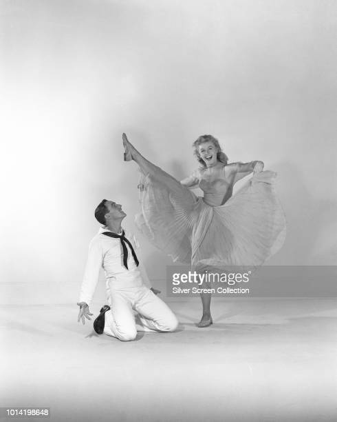 Actors and dancers Gene Kelly as Gabey and VeraEllen as Ivy Smith in the musical film 'On the Town' 1949