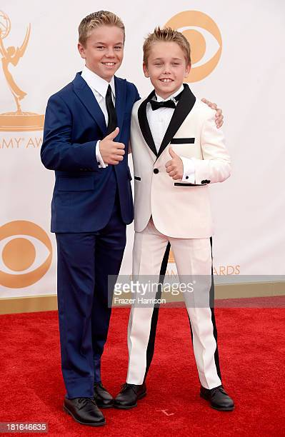 Actors and Mason Vale Cotton arrive at the 65th Annual Primetime Emmy Awards held at Nokia Theatre LA Live on September 22 2013 in Los Angeles...