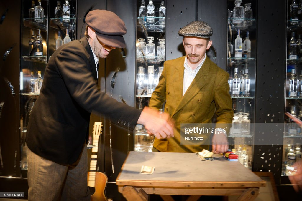 Actors and musicians are seen performing at the opening of the Polish Vodka Musuem on June 12, 2018 in Warsaw, Poland.