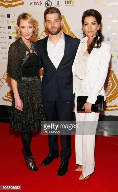 Actors and presenters Anne Heche Mike Vogel and Sofia Pernas arrive at the 3rd Annual Vetty Awards at The Mayflower Hotel on January 20 2018 in...
