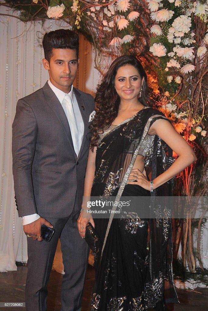 TV actors and real life couple Ravi Dubey and Sargun Mehta at wedding reception of couple Bipasha Basu and Karan Singh on April 30 2016 in Mumbai...