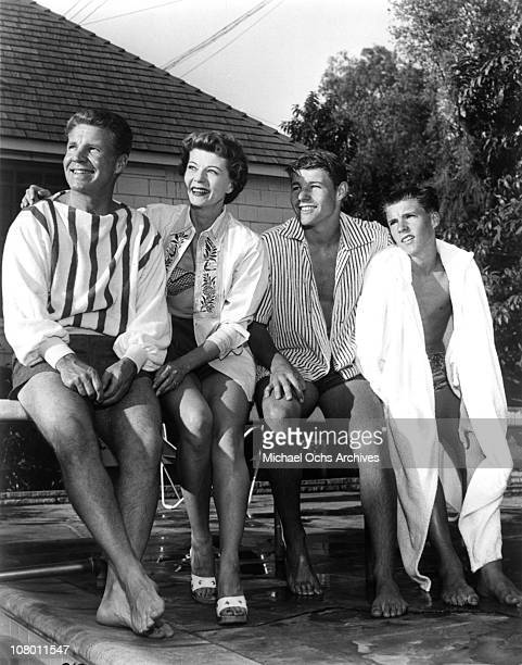 Actors and real life family The Nelsons pose for a publicity shot at home circa 1955 in Los Angeles California