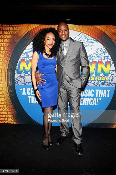 Actors and singers Allison Semmes and Clifton Oliver poses for photos during a presentation of the national touring company of Motown The Musical at...