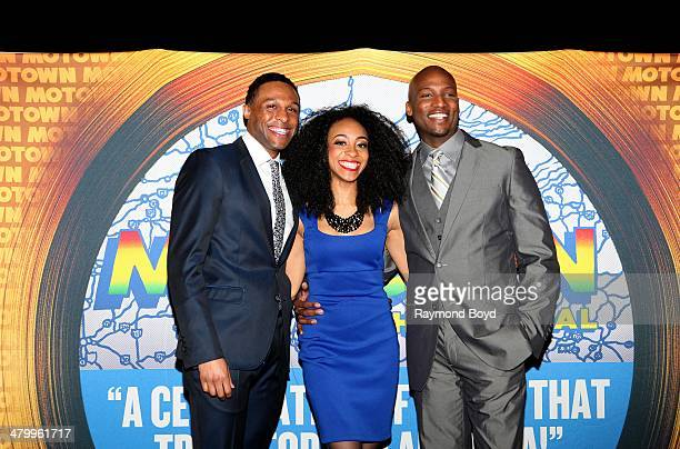 Actors and singers Jarran Muse Allison Semmes and Clifton Oliver poses for photos during a presentation of the national touring company of Motown The...