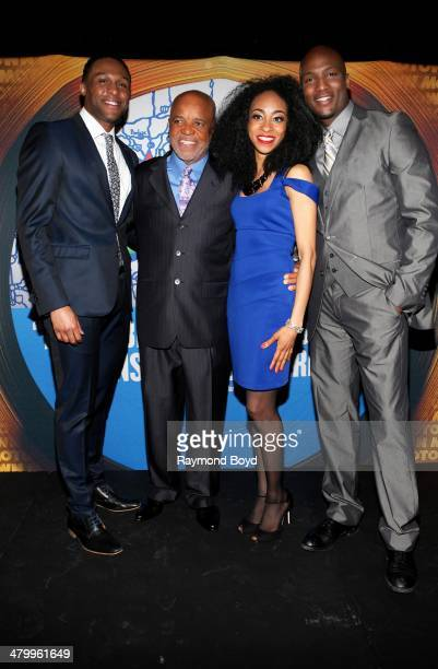 Actors and singers Jarron Muse Berry Gordy Jr Allison Semmes and Clifton Oliver poses for photos during a presentation of the national touring...
