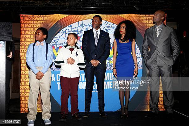 Actors and singers Leon Outlaw Jr Reed L Shannon Jarran Muse Allison Semmes and Clifton Oliver greets the press during a presentation of the national...
