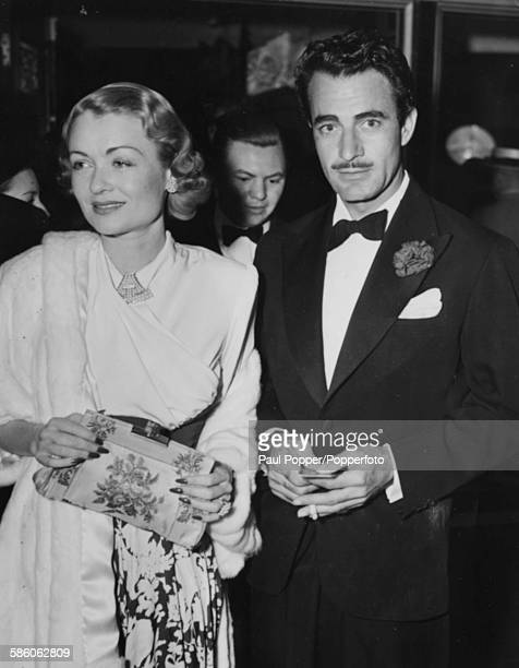 Actors and spouses Constance Bennett and Gilbert Roland attending a formal event following their recent wedding in Arizona Hollywood CA April 20th...