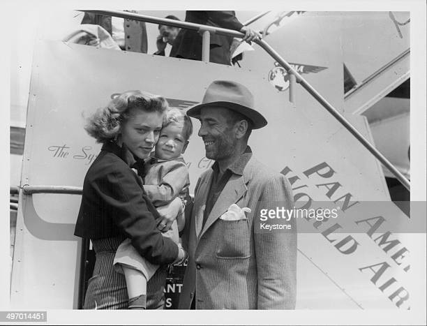 Actors and spouses Lauren Bacall and Humphrey Bogart, picking up their son Stevie from London Airport, July 21st 1951.