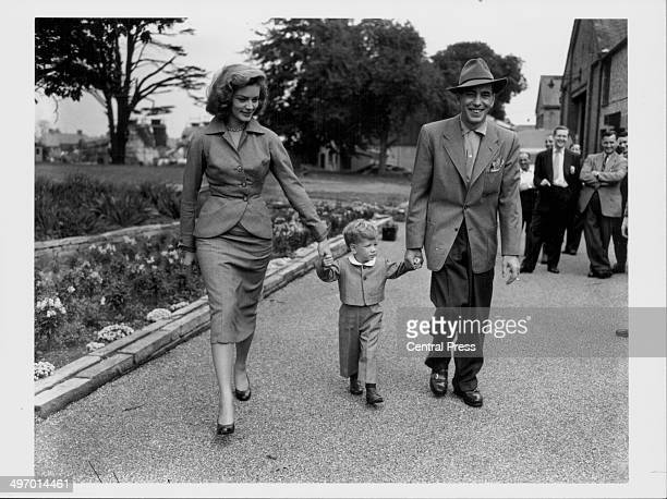 Actors and spouses Lauren Bacall and Humphrey Bogart, with their son Stevie, leaving the studios at Isleworth together, September 7th 1951.