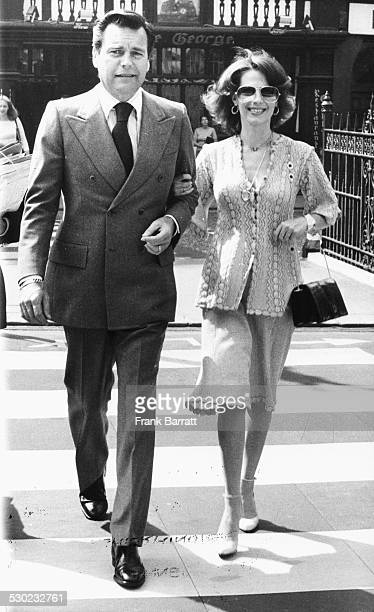 Actors and spouses Natalie Wood and Robert Wagner, leaving court following a court case, London, June 22nd 1976.