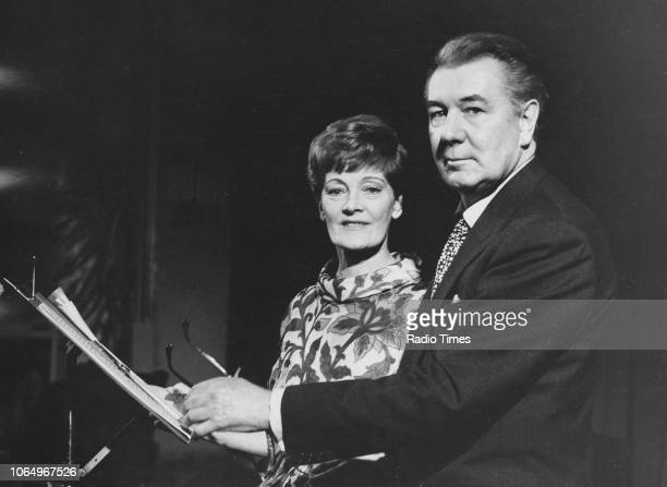 Actors and spouses Sir Michael Redgrave and Rachel Kempson reading a script together photographed for Radio Times in connection with the BBC Radio 4...