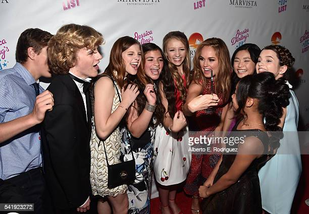 Actors Anday Tural Jacob Melton Jane Widdop Eva Bella Emma Rayne Lyle producer Debby Ryan actors KylaDrew and Chloe East attend the premiere of...