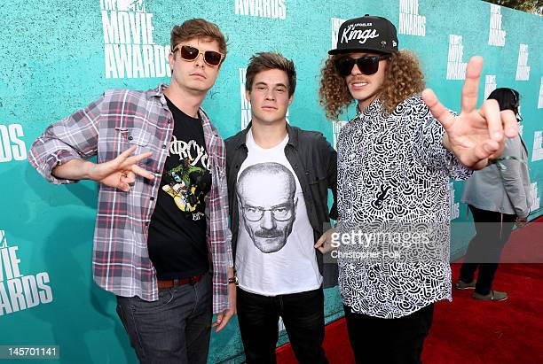 Actors Anders Holm Adam DeVine and Blake Anderson arrive at the 2012 MTV Movie Awards held at Gibson Amphitheatre on June 3 2012 in Universal City...
