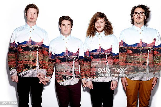 Actors Anders Holm Blake Anderson Adam DeVine and producer Kyle Newacheck are photographed for Bello on January 10 2014 in Los Angeles California...