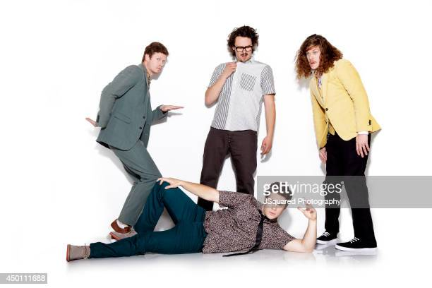 Actors Anders Holm Blake Anderson Adam DeVine and producer Kyle Newacheck are photographed for Bello on January 10 2014 in Los Angeles California