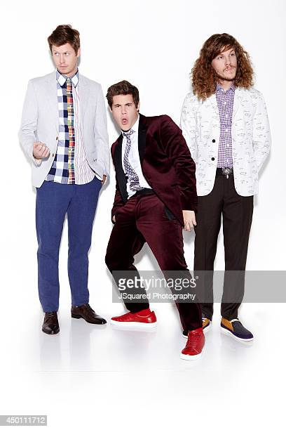 Actors Anders Holm Blake Anderson Adam DeVine are photographed for Bello on January 10 2014 in Los Angeles California
